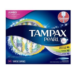 $6.27Tampax Pearl Plastic Triple Pack, Light/Regular/Super Absorbency, Unscented Tampons, 50 Count