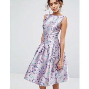 Chi Chi London Pleated Midi Dress In Ditsy Floral Print