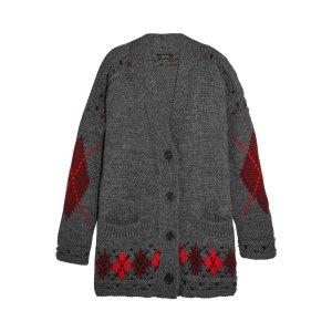 Geena oversized argyle wool and alpaca-blend cardigan