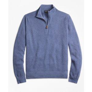 Cotton Cashmere Pique Half-Zip Sweater - Brooks Brothers