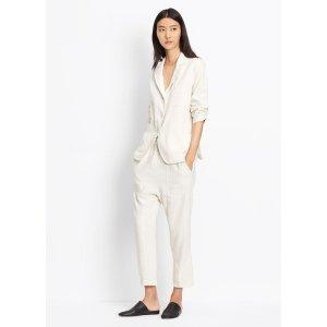 Linen Silk Paperbag-Waist Pant