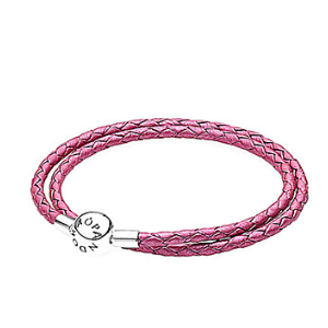 Rue La La — PANDORA Silver & Honeysuckle Pink Leather Wrap Bracelet