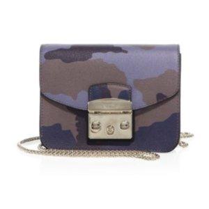 Furla Metropolis Mini Camo-Print Leather Crossbody Bag