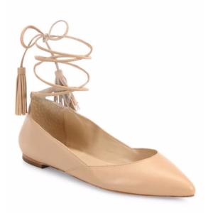 Loeffler Randall - Penelope Leather Ankle-Wrap Point Toe Flats - saks.com