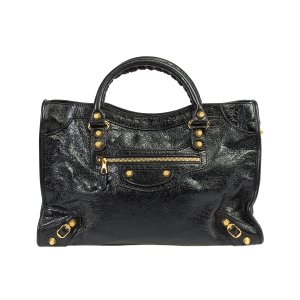 Balenciaga Black Leather 12 Gold City Tote | zulily