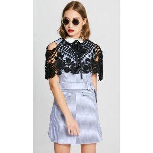 Lace Contrast Stripe Belted Dress