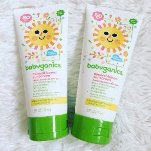 $10.43 Babyganics Mineral-Based Baby Sunscreen Lotion, SPF 50, 6oz Tube (Pack of 2)