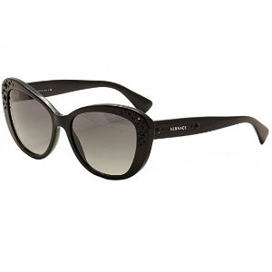Black and Grey 57mm VE4309 Crystal Charm Shades from Versace | Focus Camera