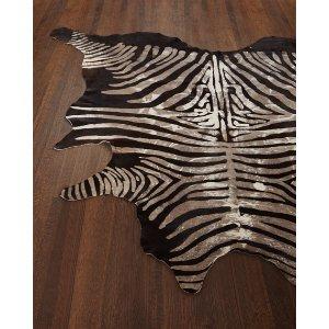 Crisp Zebra-Print Hairhide Rug, 5' x 7'