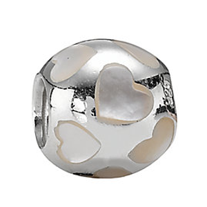 PANDORA Silver Mother of Pearl Love Me Charm