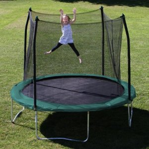 Skywalker Trampolines 10' Round Trampoline and Safety Enclosure with Green Spring Pad - Walmart.com