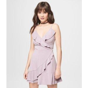 Solid V-Neck Wrap-Front Fit & Flare Dress