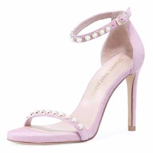 Nudistpearls Embellished Velvet Sandal