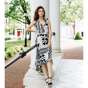 Plenty by Tracy Reese Hi Low Printed Midi Dress   South Moon Under