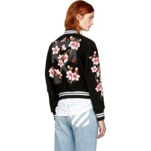 Off-White - Black Diagonal Cherry Varsity Jacket