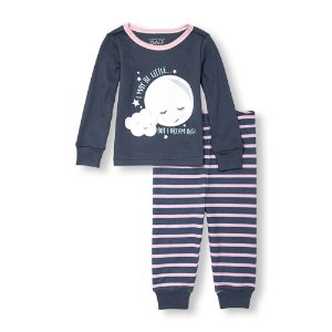 Baby And Toddler Girls Glow-In-The-Dark Long Sleeve Little Big Dreamer Moon Top And Striped Pants PJ Set | The Children's Place