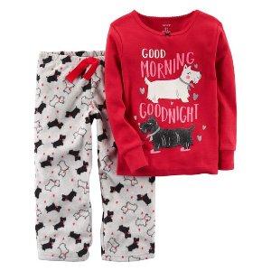 2-Piece Dog Cotton & Fleece PJs