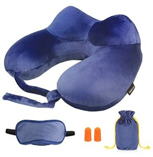 Inflatable Neck Pillow, Morecoo Travel Pillow, Super Soft, Foldable and Washable, Head, Chin and Neck Support, Portable Travel Set(Dark Blue)