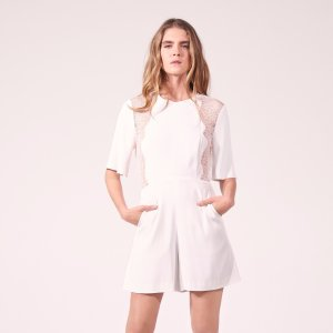 Playsuit With Lace Inset And Open Back - Pants & Shorts - Sandro-paris.com