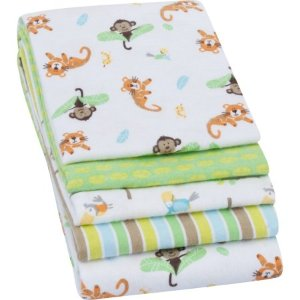 $5Garanimals Receiving Blankets, Green, 4 Pack