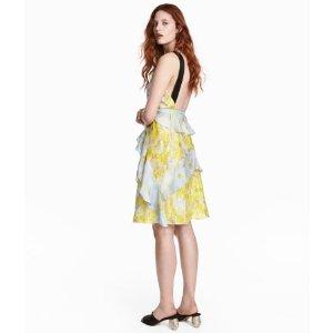 Silk Chiffon Dress | Yellow/floral | Women | H&M US
