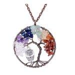 Sedmart Tree of life pendant Amethyst Rose Crystal Necklace