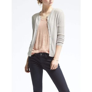 Merino Ribbed Pointelle Cardigan | Banana Republic