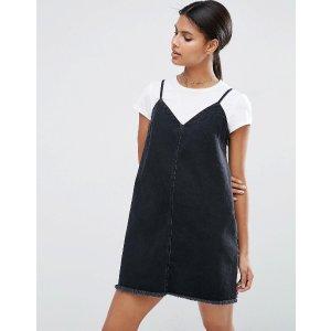 ASOS | ASOS Denim Mini Slip Dress in Washed Black with Raw Hem