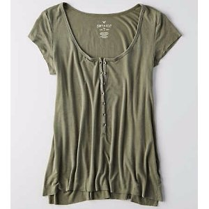 AEO Soft & Sexy Henley T-Shirt , Dusty Olive | American Eagle Outfitters
