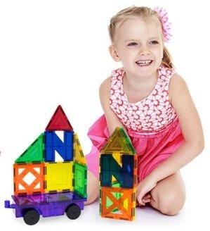 $29.97 PicassoTiles 60 Piece Set 60pcs Magnet Building Tiles Clear Magnetic 3D Building Blocks Construction Playboards - Creativity beyond Imagination, Inspirational, Recreational, Educational, Conventional
