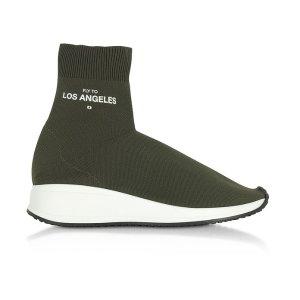 Joshua Sanders Fly To Los Angeles Green Nylon Sock Unisex Sneakers