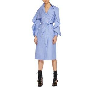 Cotton-Chambray Draped Dress