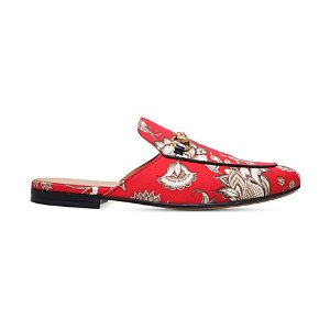 GUCCI - Princetown floral canvas slippers
