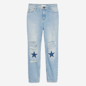 Straight Cut Jeans - Beads And Patches