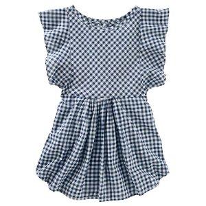 Kid Girl Ruffle Sleeve Gingham Top | OshKosh.com