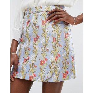 Oasis Poppy Print Jacquard Mini Skirt