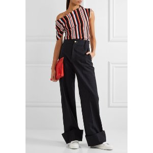 One-shoulder striped wool top