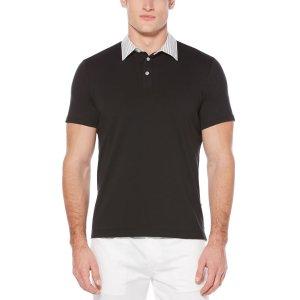 Striped-Collar Slim Fit Pima Cotton Polo - Perry Ellis