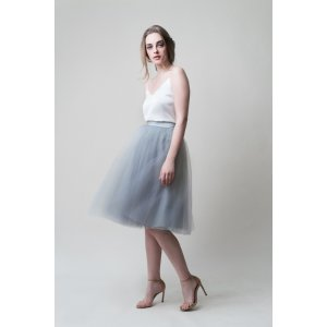 Gretta Tulle Skirt - Dusty Blue - 30