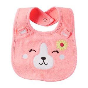 Baby Girl Neon Bear Teething Bib | Carters.com