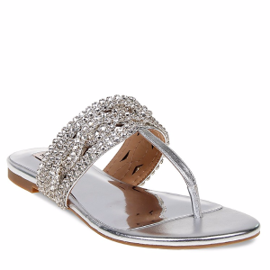 Trent Embellished Metallic Leather Thong Sandals