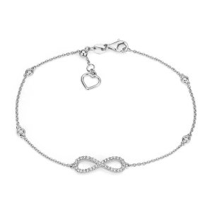 Diamond Station and Infinity Bracelet in 14k White Gold (1/4 ct. tw.) | Blue Nile