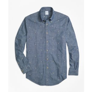 Regent Fit Anchor Embroidered Indigo Chambray Sport Shirt