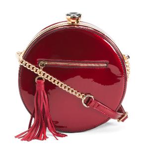 Round Faux Patent Shoulder Bag