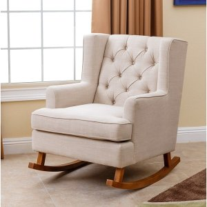 Abbyson Thatcher Beige Fabric Rocker Chair - Free Shipping Today - Overstock.com - 17640479