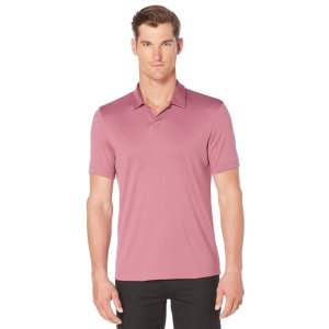 Short Sleeve Silky Open Collar Polo - Perry Ellis