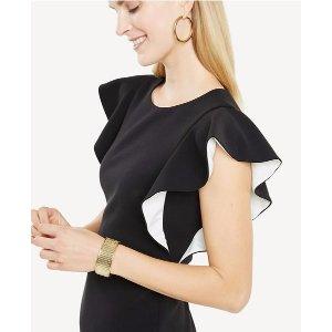 Ruffle Sleeve Sheath Dress | Ann Taylor