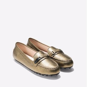 Womens Isabeli Drivers in Gold Metallic | Cole Haan