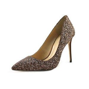 Imagine Vince Camuto Olson Women  Pointed Toe Canvas Bronze Heels | Bluefly.Com
