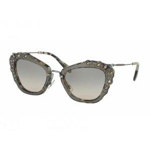 Miu Miu Noir Women's Sunglasses Marble Black White Frame Green Gradient Lenses | Focus Camera